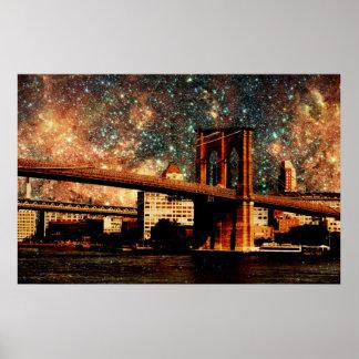 Starry Night Brooklyn Bridge Poster