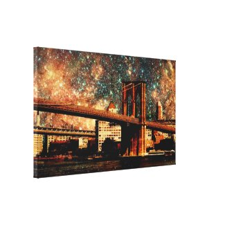 Starry Night Brookyn Bridge Wrapped Canvas Gallery Wrap Canvas