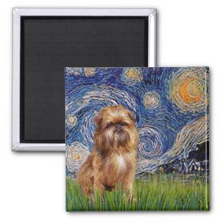 Starry Night - Brown Brussels Griffon 2 Inch Square Magnet
