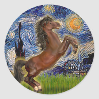 Starry Night - Brown Horse Rearing Classic Round Sticker