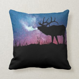 Starry Night Bull Elk Throw Pillow
