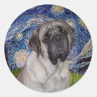 Starry Night - Bull Mastiff Portrait Classic Round Sticker
