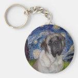 Starry Night - Bull Mastiff Portrait Key Chain