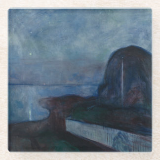 Starry night by Edvard Munch symbolist painter Glass Coaster
