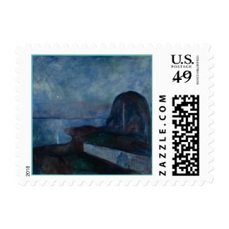 Starry night by Edvard MUNCH,symbolist painter Postage Stamp