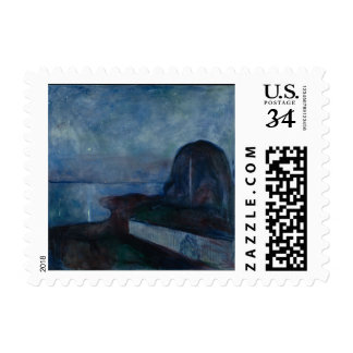 Starry night by Edvard MUNCH,symbolist painter Stamp