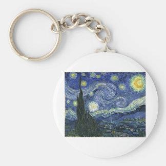 Starry Night by Van Gogh Basic Round Button Keychain