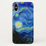 """Starry Night by Van Gogh iPhone X Case<br><div class=""""desc"""">Vincent van Gogh - Starry Night painted at St Remy,  France in 1889 Fine Art iPhone cases. This image has been digitally enhanced to restore the original bold,  bright colors - a perfect gift for any art lover!</div>"""