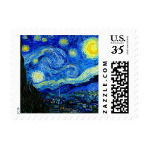 Starry Night by Van Gogh Fine Art Postage Stamp