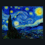 """Starry Night by Van Gogh Fine Art Poster Print<br><div class=""""desc"""">Vincent van Gogh - Starry Night painted at St Remy,  France in 1889 Fine Art Print. This image has been digitally enhanced to restore the original bold,  bright colors - a perfect gift for any art lover!</div>"""