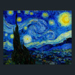 "Starry Night by Van Gogh Fine Art Poster Print<br><div class=""desc"">Vincent van Gogh - Starry Night painted at St Remy,  France in 1889 Fine Art Print. This image has been digitally enhanced to restore the original bold,  bright colors - a perfect gift for any art lover!</div>"