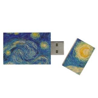 Starry Night by Van Gogh Fine Art Wood Flash Drive