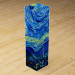 """Starry Night by Van Gogh Wine Gift Box<br><div class=""""desc"""">Vincent van Gogh - Starry Night painted at St Remy,  France in 1889 Fine Art wine gift boxes. This image has been digitally enhanced to restore the original bold,  bright colors - a perfect gift for any art lover!</div>"""