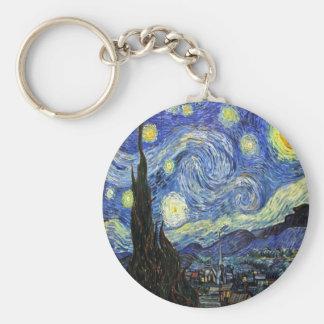 Starry Night By Vincent Van Gogh 1889 Basic Round Button Keychain