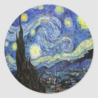 Starry Night By Vincent Van Gogh 1889 Classic Round Sticker