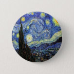 """Starry Night By Vincent Van Gogh 1889 Pinback Button<br><div class=""""desc"""">To the best of my knowledge these images are in public domain and believed to be free to use without restriction in the US.   Please contact me if you discover that any of these images are not in Public Domain.</div>"""