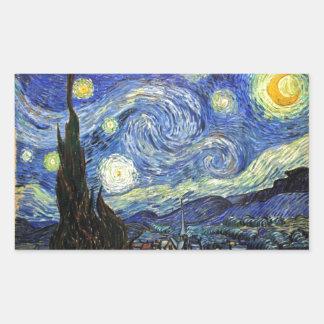 Starry Night By Vincent Van Gogh 1889 Rectangular Sticker