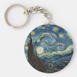 Starry Night by Vincent Van Gogh Basic Round Button Keychain
