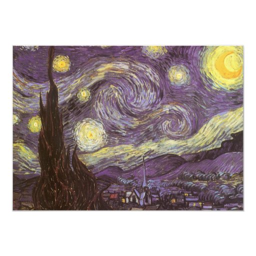 Starry Night by Vincent van Gogh, Birthday Party Announcements