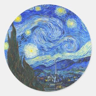 Starry Night by Vincent van Gogh Classic Round Sticker