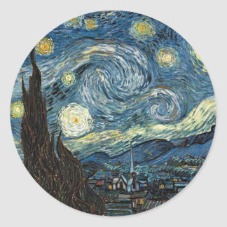 Starry Night by Vincent Van Gogh Classic Round Sticker