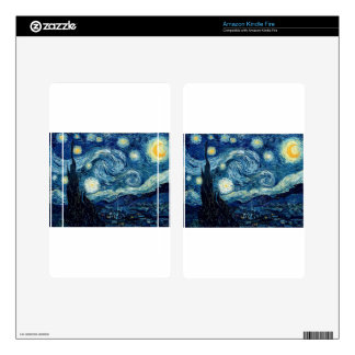 Starry Night By Vincent Van Gogh Decals For Kindle Fire
