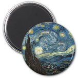 Starry Night by Vincent Van Gogh 2 Inch Round Magnet