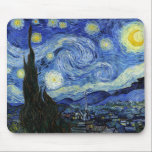 "Starry Night by Vincent van Gogh Mouse Pad<br><div class=""desc"">A mouse pad with Starry Night (1889) a post-impressionist oil painting by Vincent Van Gogh (1853-1890). A painting depicting the view outside the window from Van Gogh&#39;s room at the sanitorium in Saint-Remy-de-Provence,  Southern France.</div>"