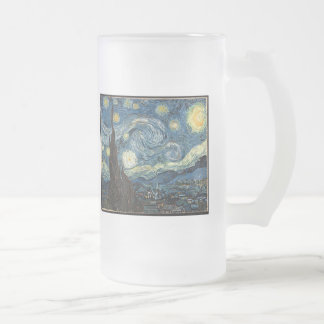 Starry Night by Vincent Van Gogh 16 Oz Frosted Glass Beer Mug