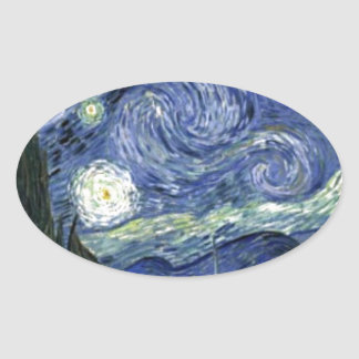 Starry Night by Vincent Van Gogh Oval Sticker