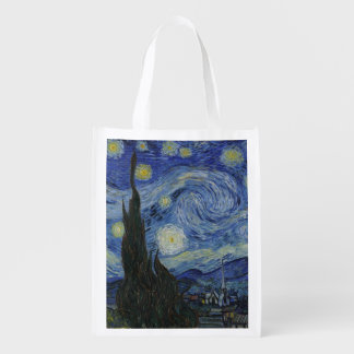Starry Night by Vincent Van Gogh Reusable Grocery Bag