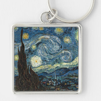Starry Night by Vincent van Gogh Silver-Colored Square Keychain