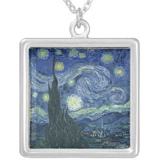 Starry Night by Vincent Van Gogh Silver Plated Necklace