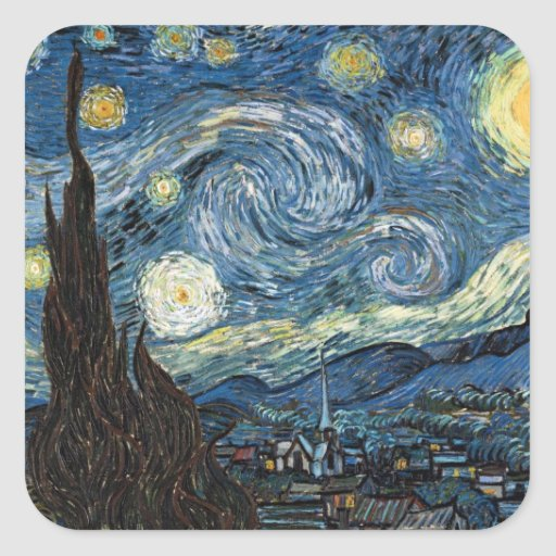 Starry Night by Vincent Van Gogh Square Sticker