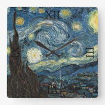 Starry Night by Vincent van Gogh Square Wall Clock