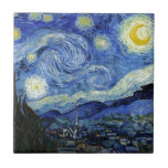 "Starry Night by Vincent van Gogh Tile<br><div class=""desc"">A ceramic tile with Starry Night (1889),  a post-impressionist oil painting by Vincent Van Gogh (1853-1890). A painting depicting the view outside the window from Van Gogh&#39;s room at the sanitorium in Saint-Remy-de- Provence,  Southern France.</div>"