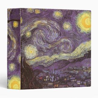 Starry Night by Vincent van Gogh, Vintage Fine Art 3 Ring Binder