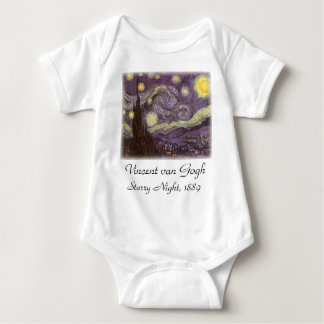 Starry Night by Vincent van Gogh, Vintage Fine Art Baby Bodysuit