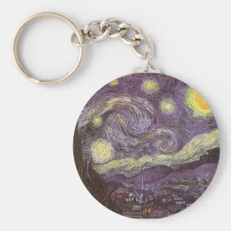 Starry Night by Vincent van Gogh, Vintage Fine Art Basic Round Button Keychain