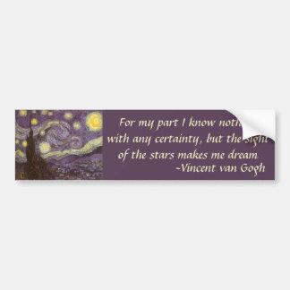 Starry Night by Vincent van Gogh, Vintage Fine Art Car Bumper Sticker