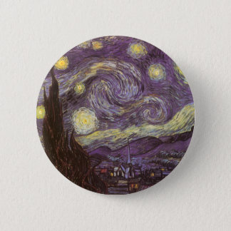 Starry Night by Vincent van Gogh, Vintage Fine Art Button