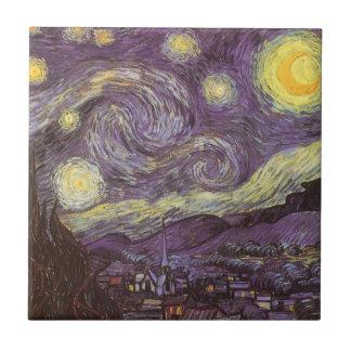 Starry Night by Vincent van Gogh, Vintage Fine Art Ceramic Tile
