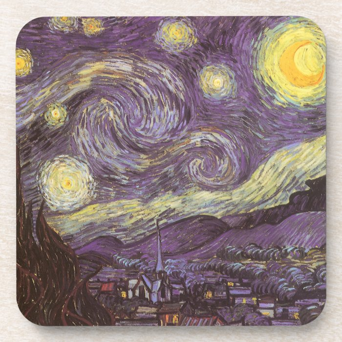 Starry Night by Vincent van Gogh, Vintage Fine Art Coaster