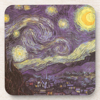Starry Night by Vincent van Gogh, Vintage Fine Art Drink Coaster