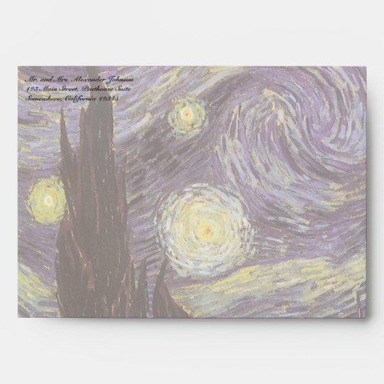 Starry Night by Vincent van Gogh, Vintage Fine Art Envelope
