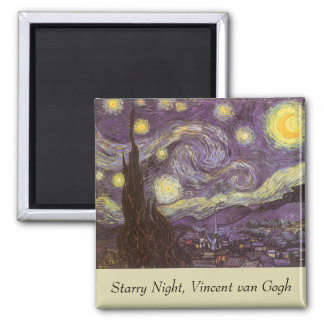 Starry Night by Vincent van Gogh, Vintage Fine Art Magnet