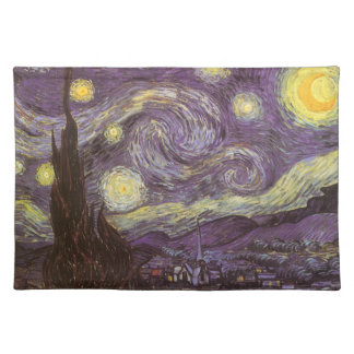 Starry Night by Vincent van Gogh, Vintage Fine Art Cloth Place Mat