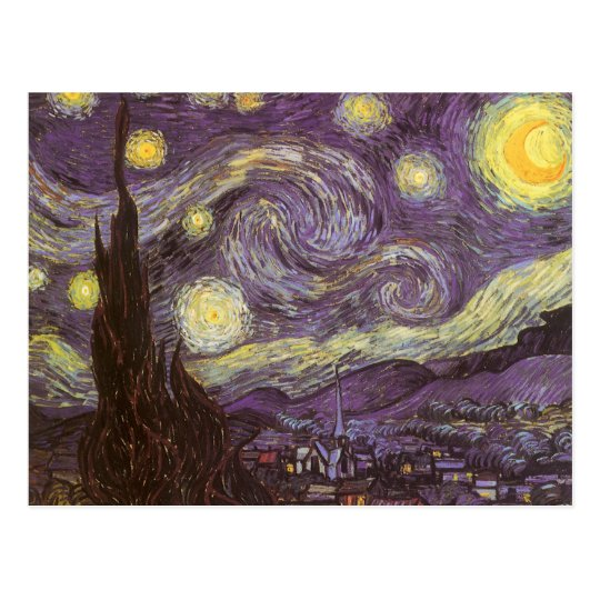 Starry Night by Vincent van Gogh, Vintage Fine Art Postcard