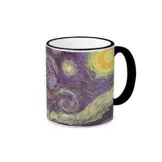 Starry Night by Vincent van Gogh, Vintage Fine Art Ringer Mug