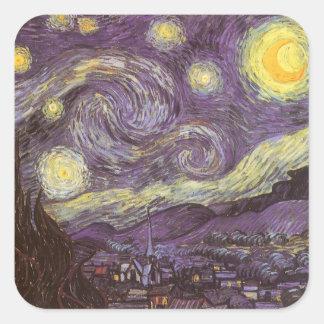 Starry Night by Vincent van Gogh, Vintage Fine Art Square Sticker
